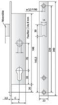 A larder têtière inox Métalux 1 point - 9 bec de cane avec rappel du 1/2 tour par la clé