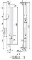 A larder têtière inox Stremler 3 points - 1 latéral + haut et bas - 2274 - pêne dormant et rouleau