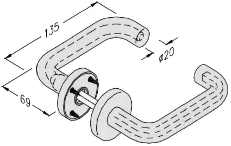Béquille double NY ZD 94F avec âme en acier pour usage intensif - pour porte de 39 à 45 mm d\'épaisseur - sans rosace