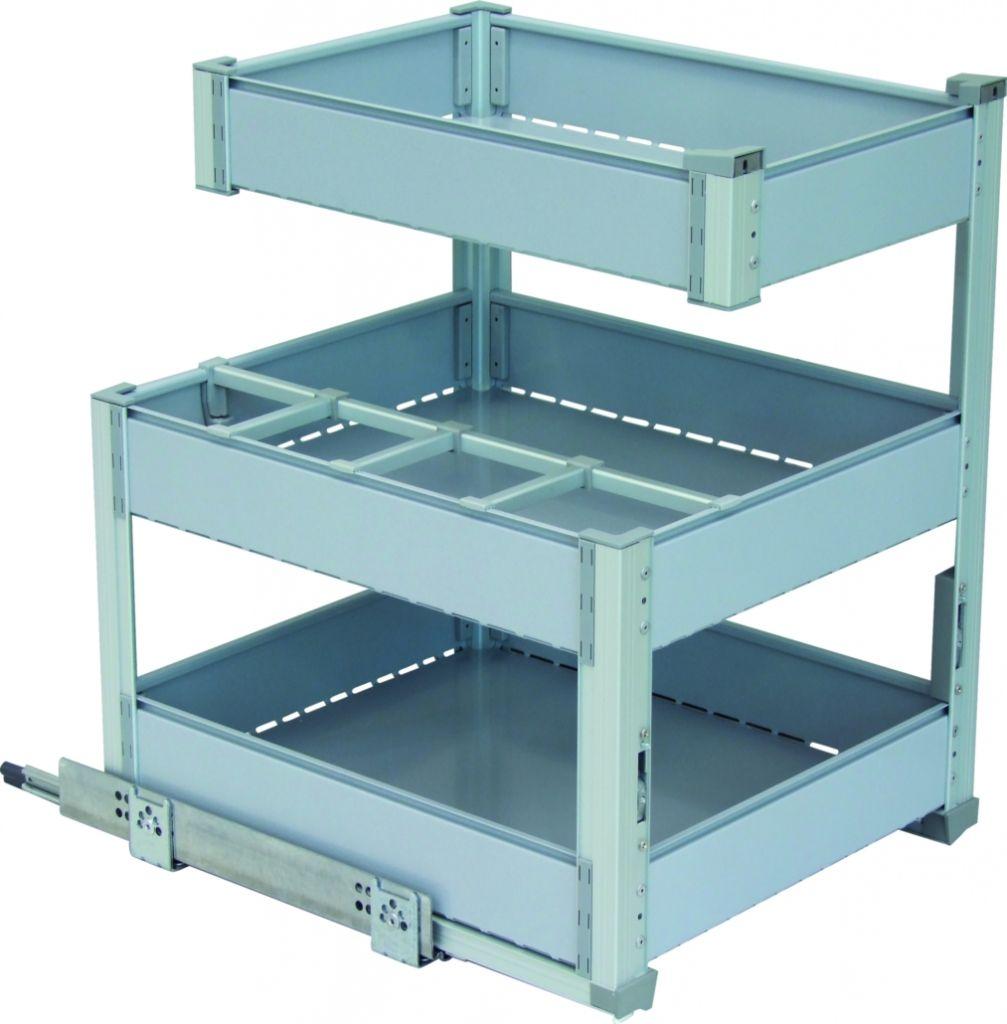 Bouteilles + 3 niveaux de rangement - cadre aluminium anodisé - panier gris