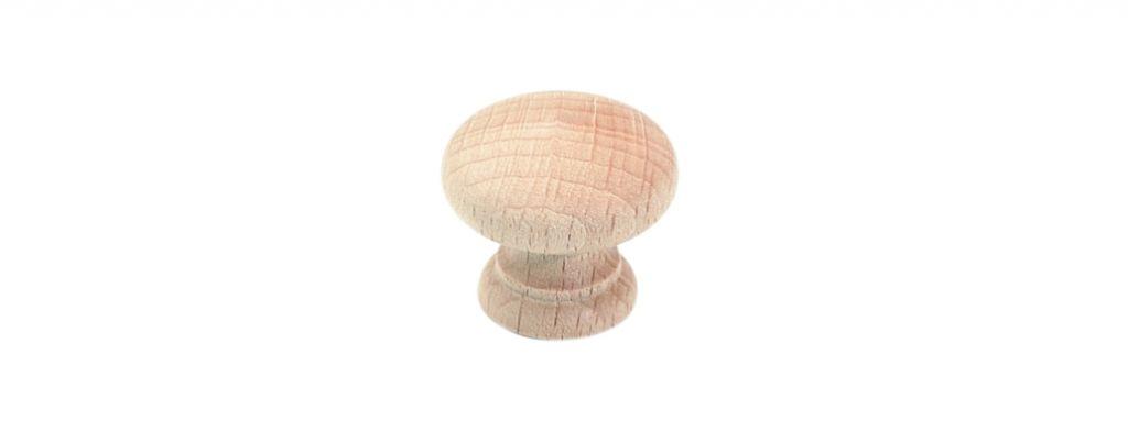 Bouton classique bombé - hêtre brut poncé