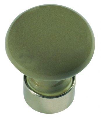 Bouton classique bombé - porcelaine de couleurs - monture nickelé mat ø 30 mm