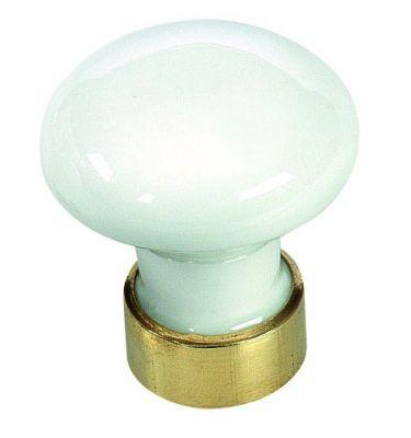Bouton classique uni - porcelaine blanche