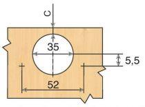 Charnière invisible d\'angle ø 35 mm série Intermat + 45°/ + 30°/ + 20°