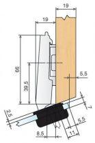 Charnière invisible ø 26 mm d\'angle pour porte verre ouverture 94 ° - angle + 20°