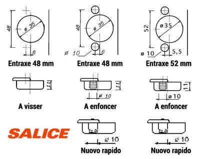 Charnière invisible ø 35 mm série 200 bras coudé 17 mm - Salice
