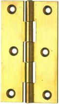 Charnière rectangulaire - axe inox - Laiton poli - percée fraisée