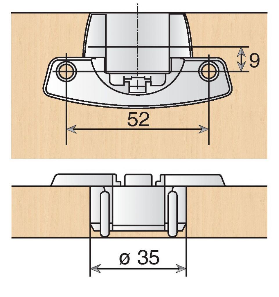 Charnière Selekta ø 35 mm - Hettich