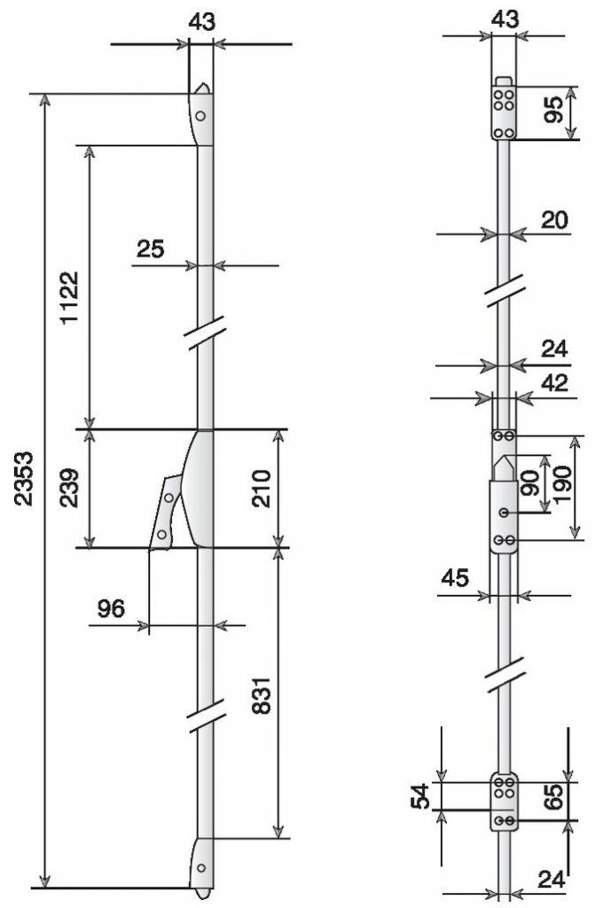 Coffre et palette de manoeuvre sans main - version coupe - feu