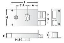 Coffre pour cylindre profil européen Devismes horizontale à fouillot - Carré de 6 mm