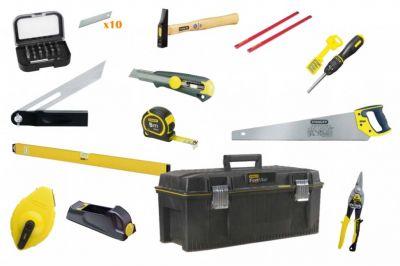 Composition Stanley boite à outils menuisier - 14 outils