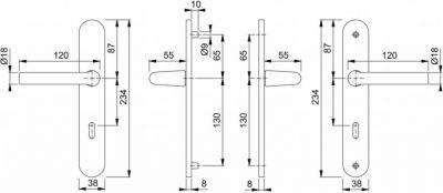 Ensemble Bonn - Plaque aluminium fondu 234 x 38 mm entraxe de fixation 195 mm