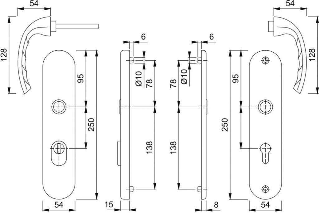 Ensemble de sécurité Tokyo plaque 250 x 54 mm - entraxe de fixation 216 mm