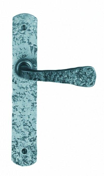 Ensemble Moissac plaque fer martelé 240 x 40 mm - entraxe de fixation 195 mm