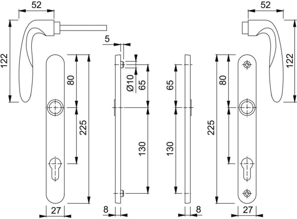 Ensemble Vérona plaque étroite 225 x 27 mm - entraxe de fixation 195 mm