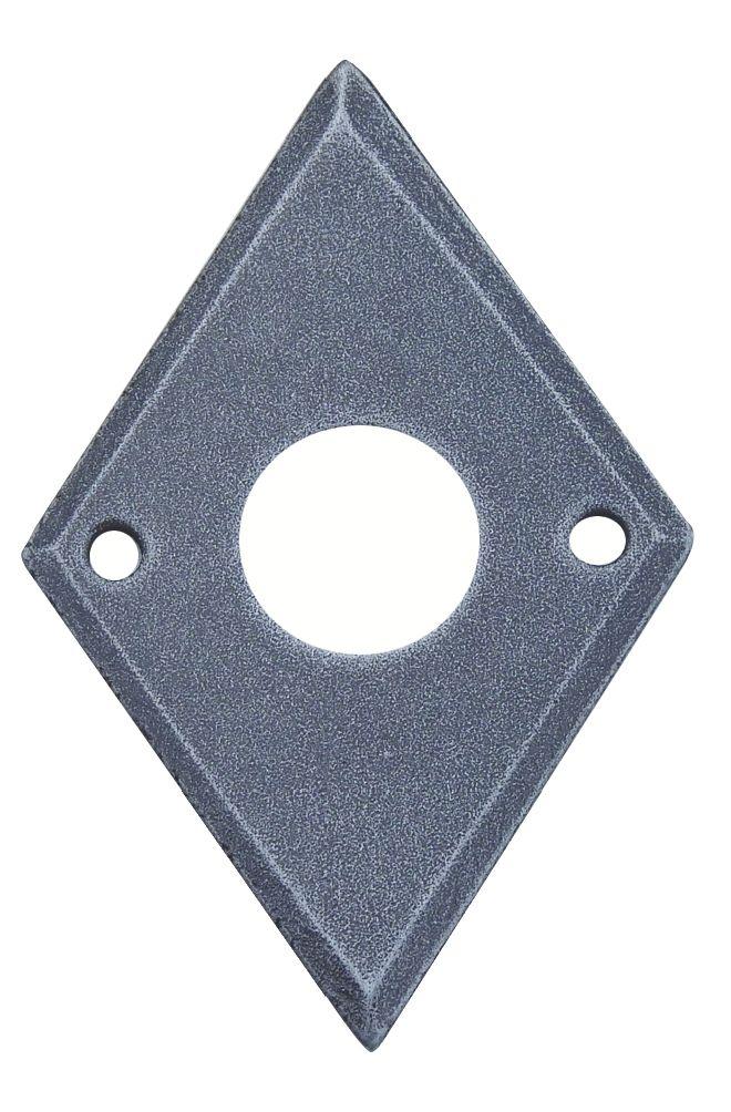 Entrée losange 42 x 63 mm - Acier shérardisé patiné