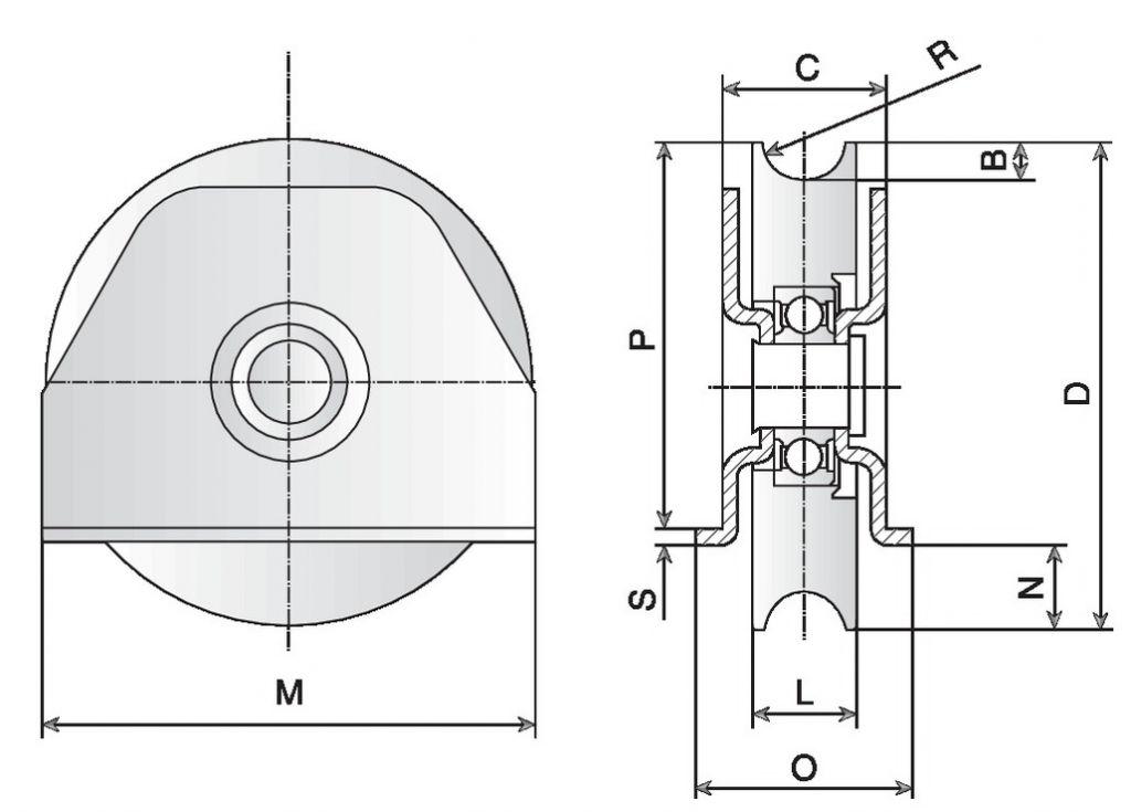 Galet avec platine extérieure et intérieure