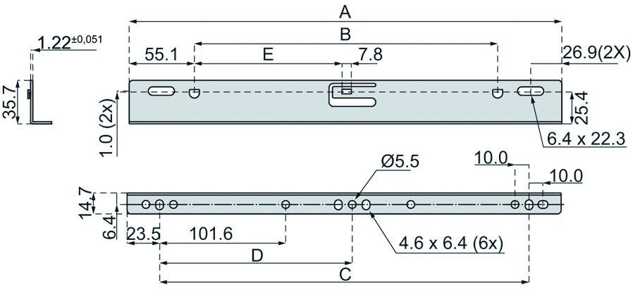 Jeu d\'équerre DB 633 pour glissières 2132 / 3732 et 3832