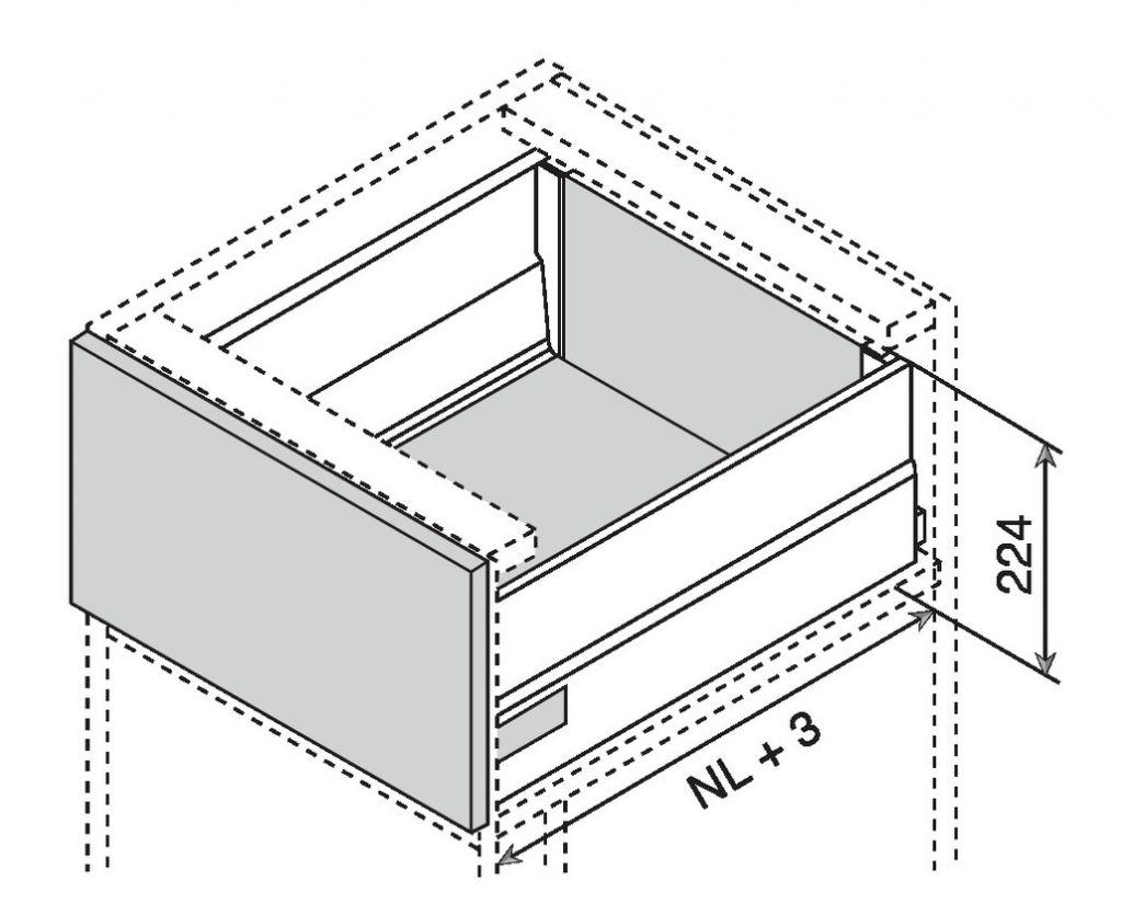 Kit intivo TIP-ON BOXCAP hauteur D : 224 mm - inox