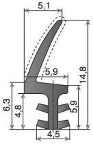 LD411PVC - largeur de rainure 4 mm - profondeur de rainure 7,5 mm
