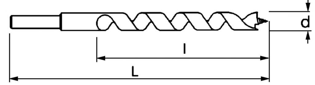 Mèche à bois à hélice unique queue cylindrique réduite - série longue