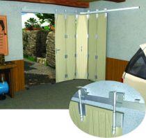 Monture et charnière - porte à déplacement latéral sur rail en fer plat