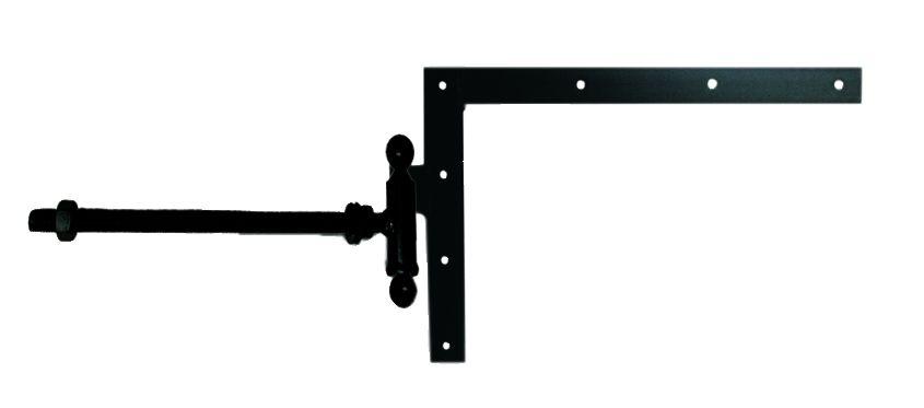 Paumelle forgée à boule broche et bague equerre du haut à tige filetée acier cataphorèse noir