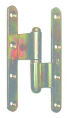 Paumelle picarde acier bichromaté - Contre - coudée - lames à bouts ronds