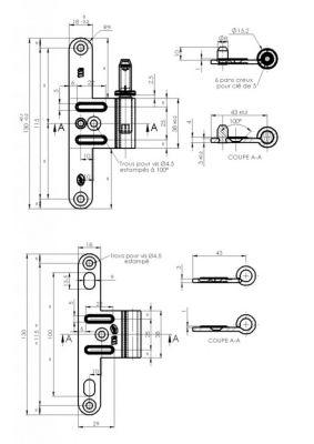 Paumelle réglable acier zingué anti - dégondable avec fourreau - NF - Lame à bouts ronds