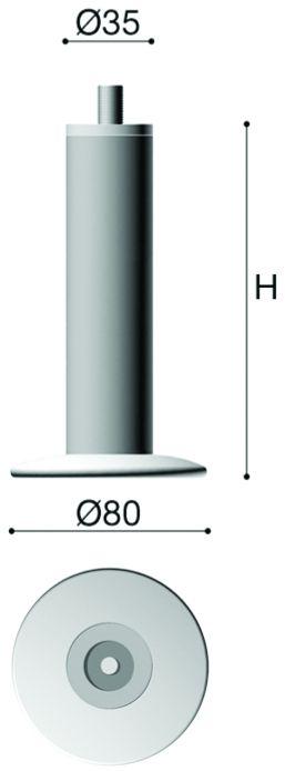 Pied de meuble ø 34 mm - fixation M10