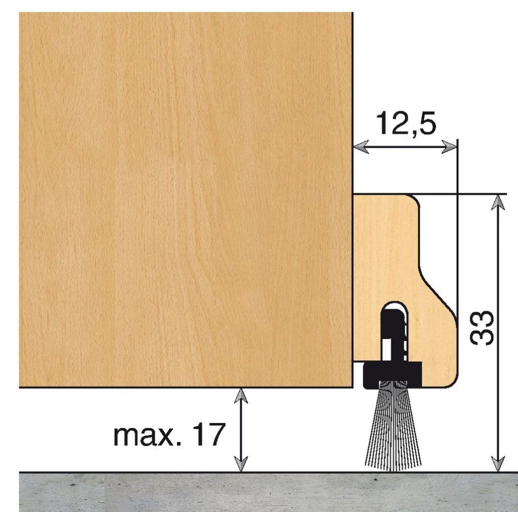 Plinthe anti vent fixe hêtre à brosse - HDS - B