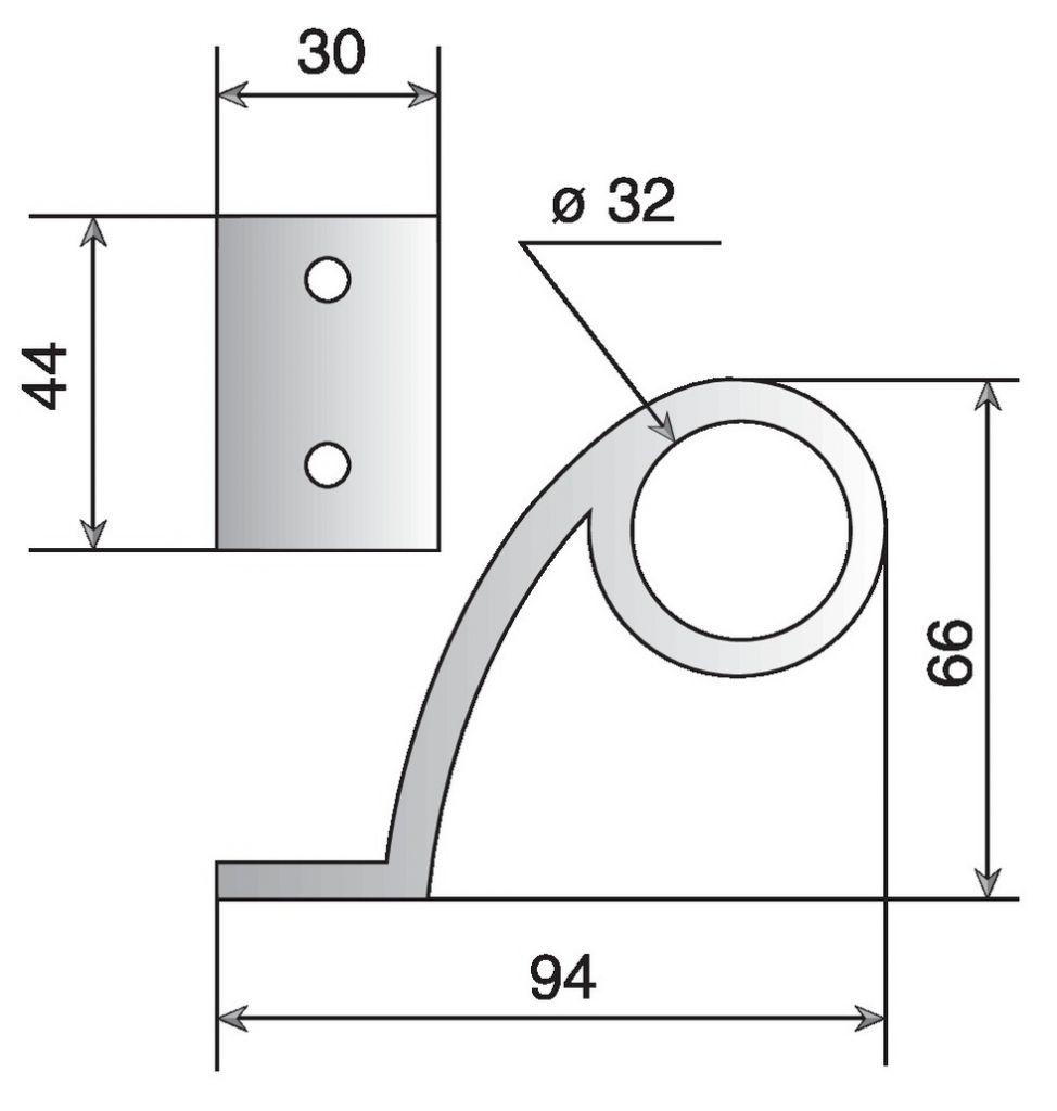 Poignée type `Baton de Maréchal` aluminium poli
