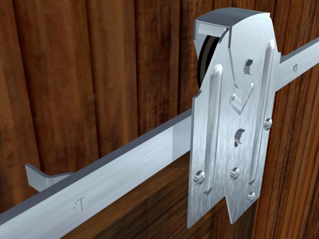 Pour porte jusqu\'à 400 kg - porte à déplacement droit sur rail en fer plat