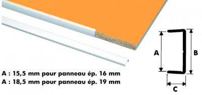 Profilé plastique blanc : chant U rigide - longueur 2,75 m