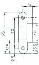 Série Multibat - têtière acier vernie noir bouts ronds - avec gâche