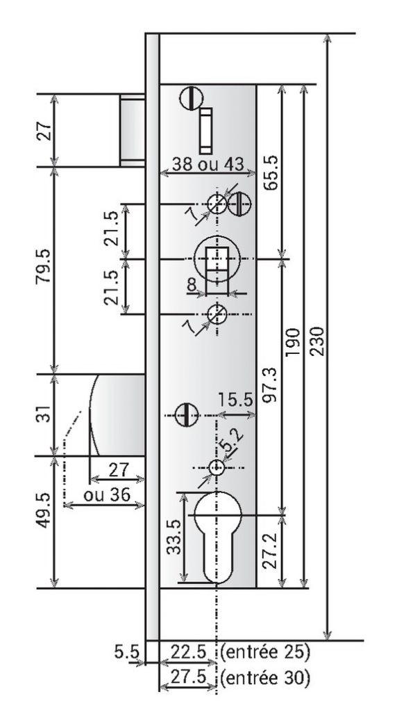 Serrure de profil étroit 1 point a larder têtière alu - Pêne dormant basculant et 1/2 tour