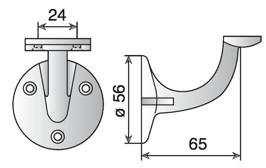 Support de rampe aluminium - droit