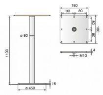 Table mange debout ø 80 mm - hauteur 1100 mm