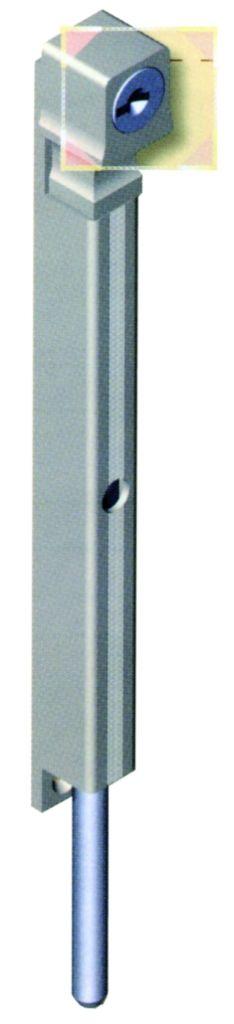 Verrou à plaquer en profilé aluminium et pêne en inox